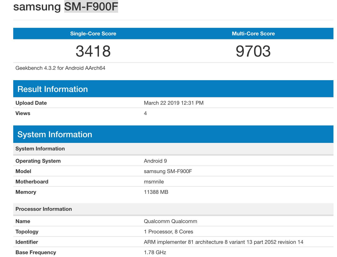 Samsung Galaxy Fold Geekbench benchmarki SM-F900F składany smartfon cena kiedy premiera gdzie kupić najtaniej w Polsce specyfikacja techniczna