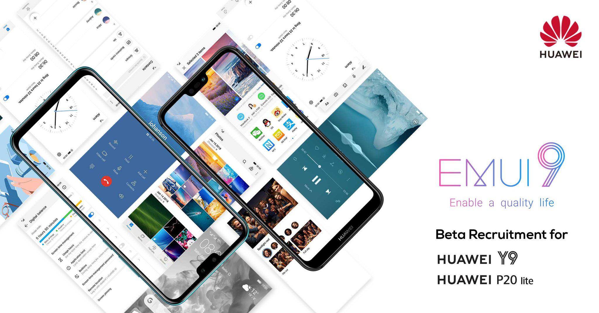 Huawei P20 Lite Y9 kiedy aktualizacja Android Pie z EMUI 9.0 beta