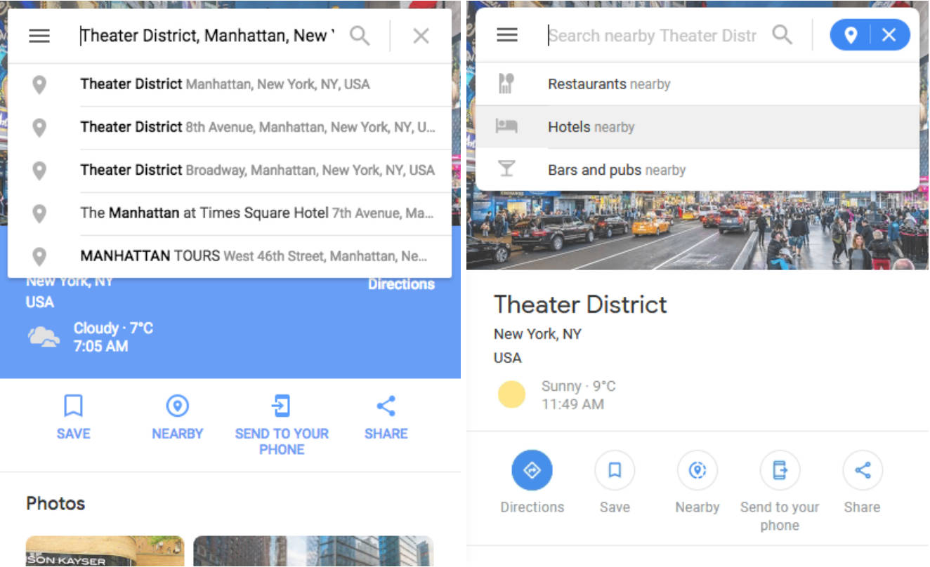 Mapy Google web Material Design