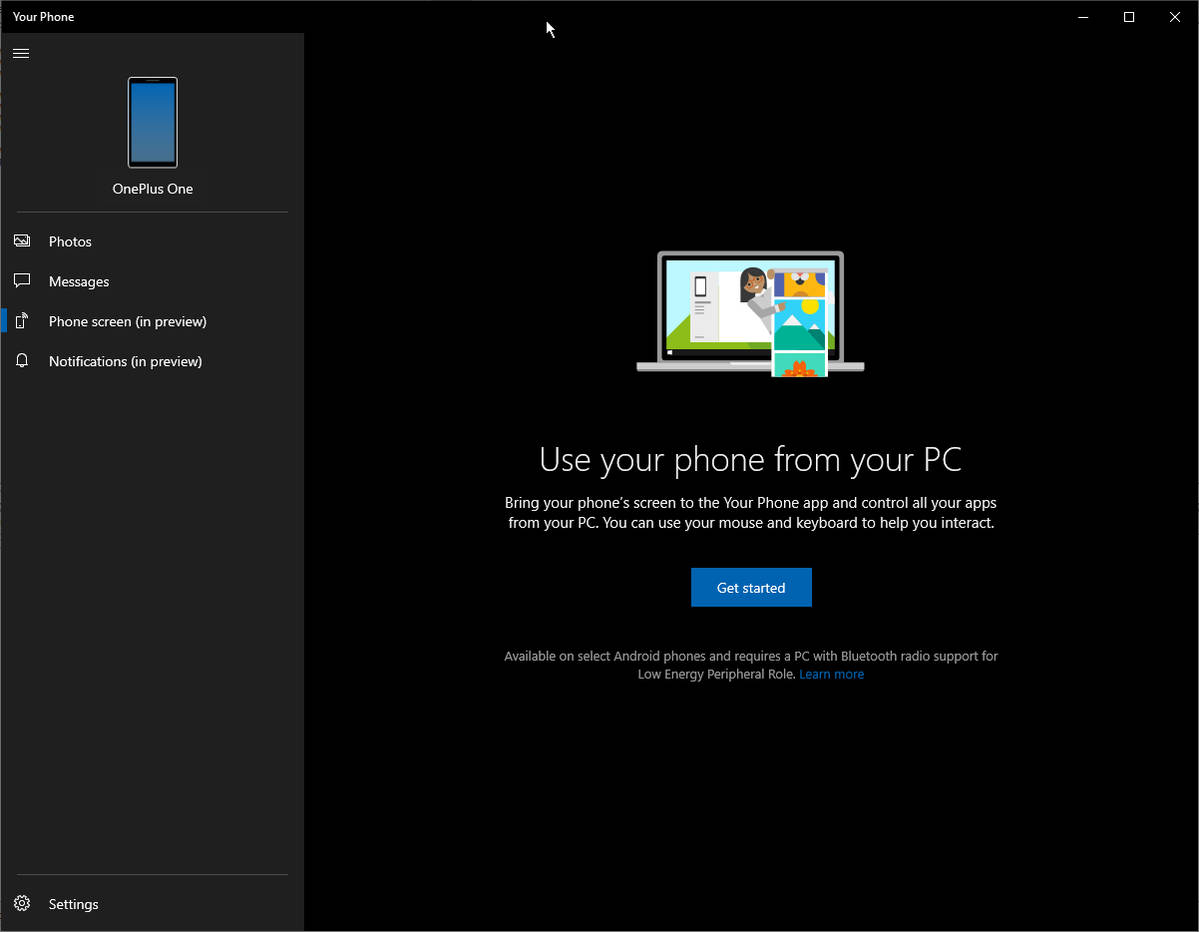 Aplikacja Twój telefon z Windows 10 1809 Microsoft powiadomienia klonowanie obrazu Android ze smartfona Galaxy S10 OnePlus 6T