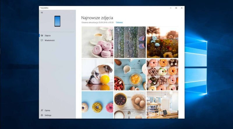 Aplikacja Twój telefon z Windows 10 1809 Microsoft powiadomienia klonowanie obrazu Android ze smartfona