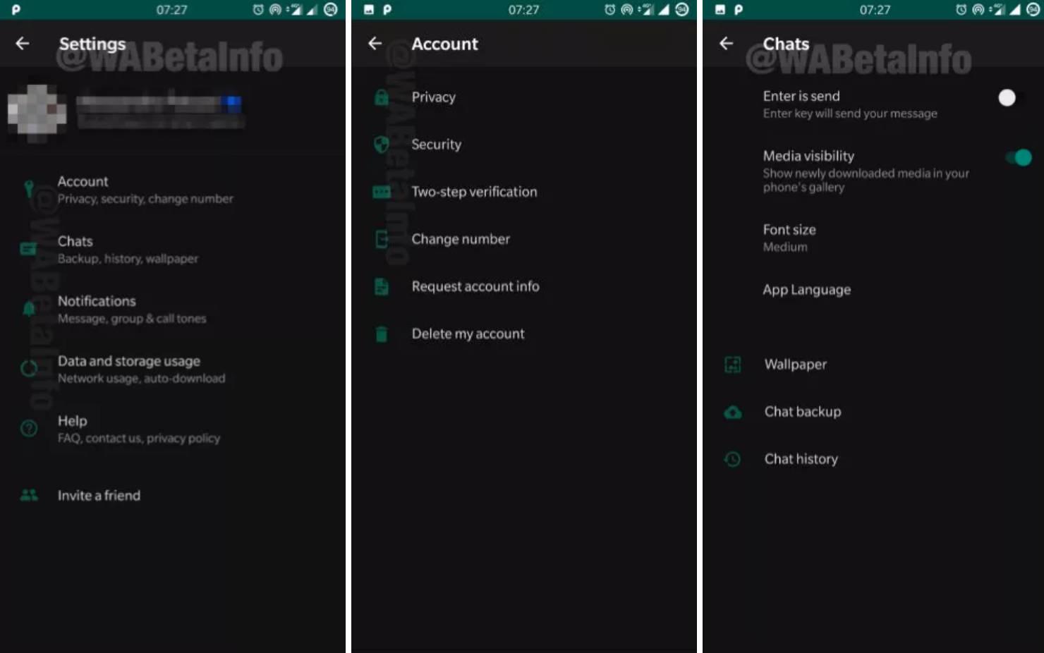 WhatsApp beta Android dark modem tryb ciemmny motyw czarny