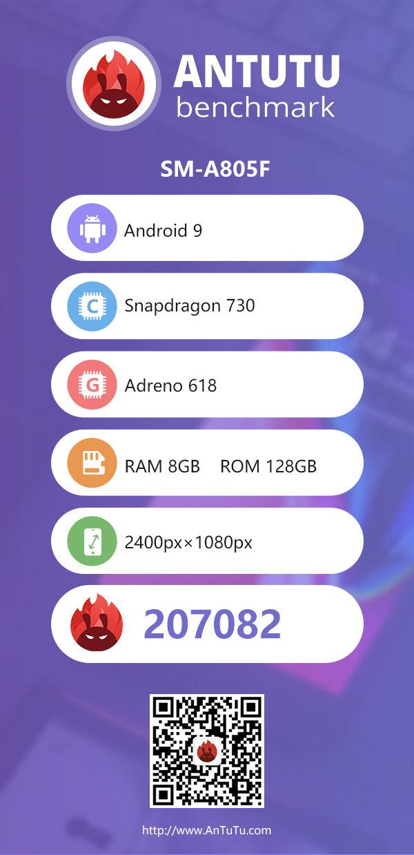 Samsung Galaxy A80 cena opinie Snapdragon 730 AnTuTu wydajność benchmarki specyfikacja techniczna