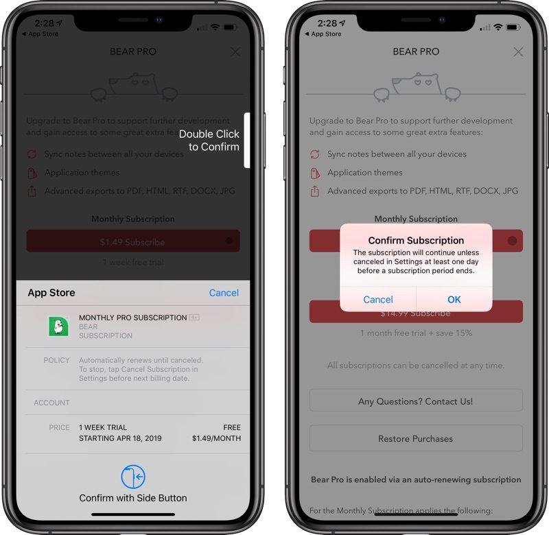Apple App Store iOS subskrypcje potwierdzenie płatności wewnątrz aplikacji