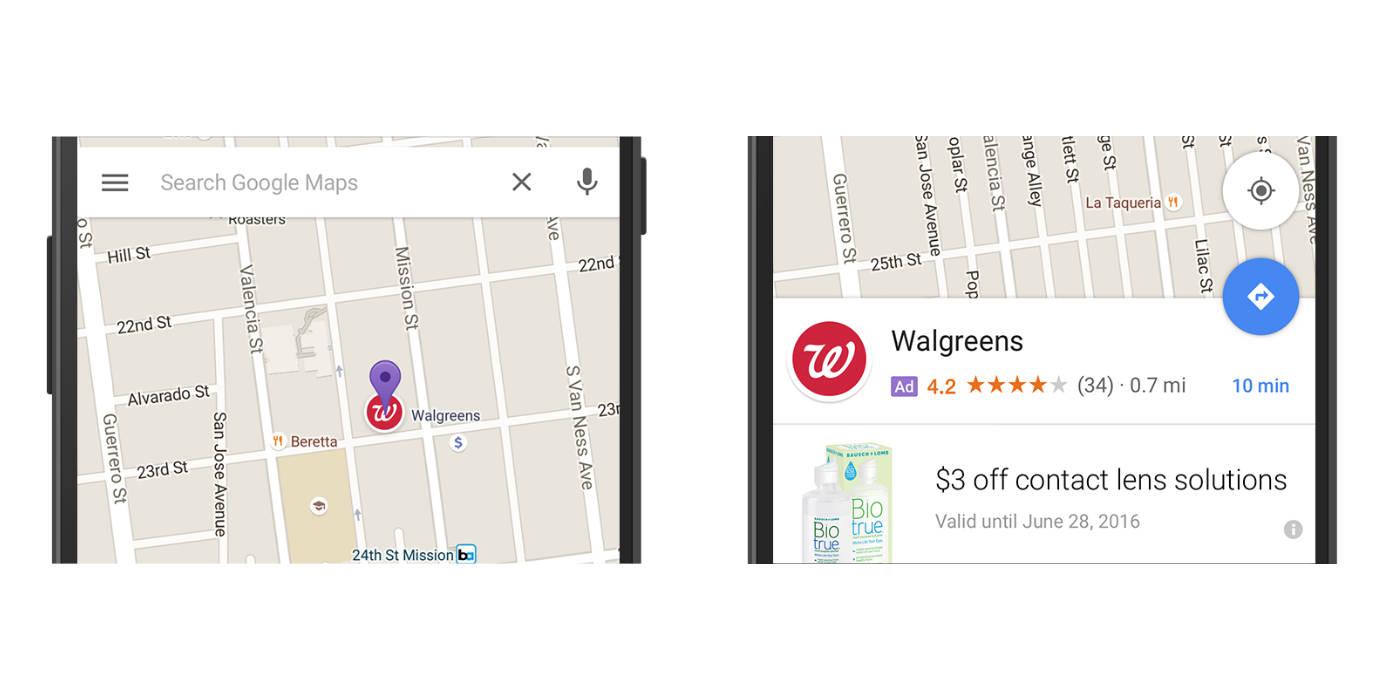 Google Maps Mapy reklamy aplikacje Android