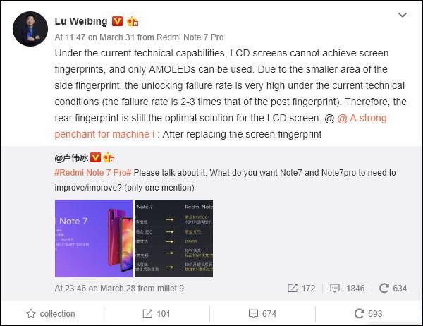 Xiaomi Redmi Note 7 cena czytnik linii papilarnych Lu Weibing gdzie kupić najtaniej w Polsce opinie specyfikacja techniczna
