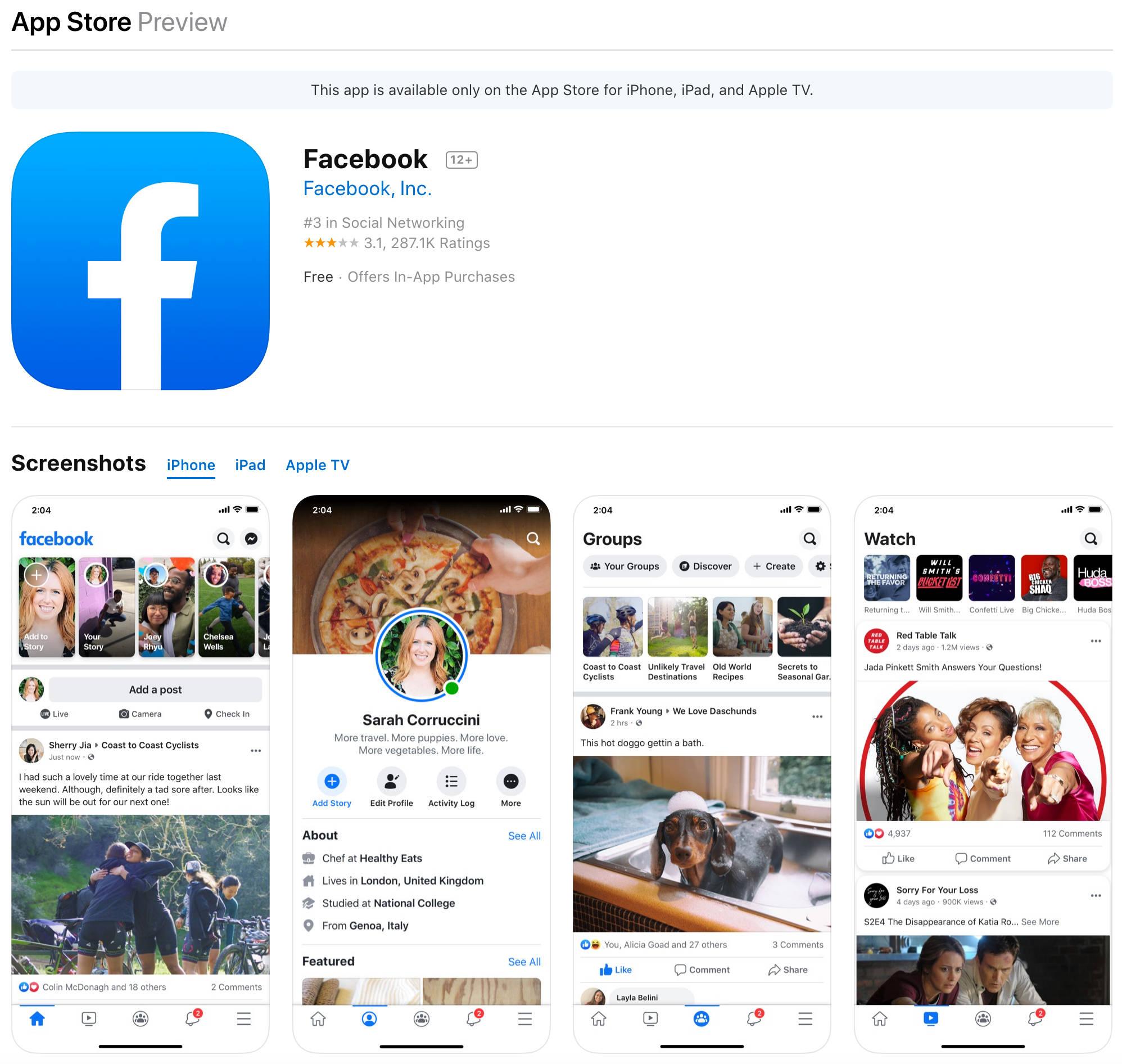 Nowa ikonka Facebook na iOS iPhone