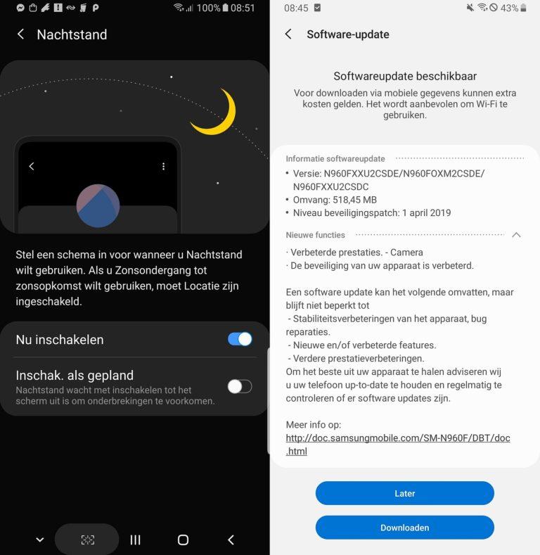 Samsung Galaxy Note 9 aktualizacja selfie harmonogram tryb nocny
