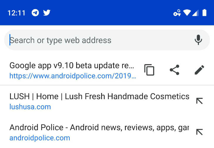 Google Chrome 74 Android usprawniony pasek omnibox