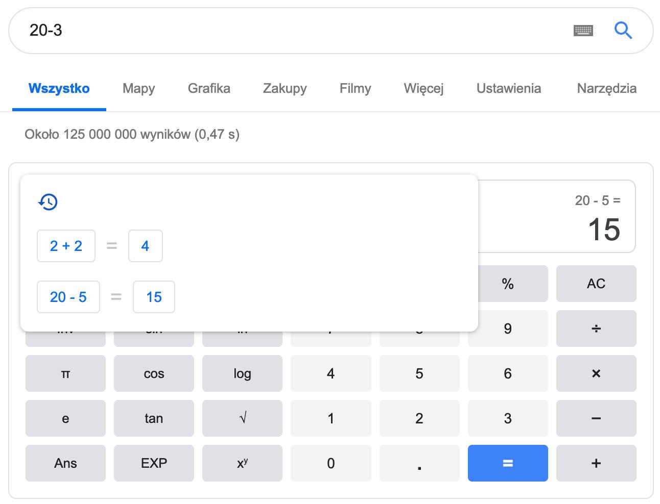 Kalkulator Google wyszukiwarka Material Theme