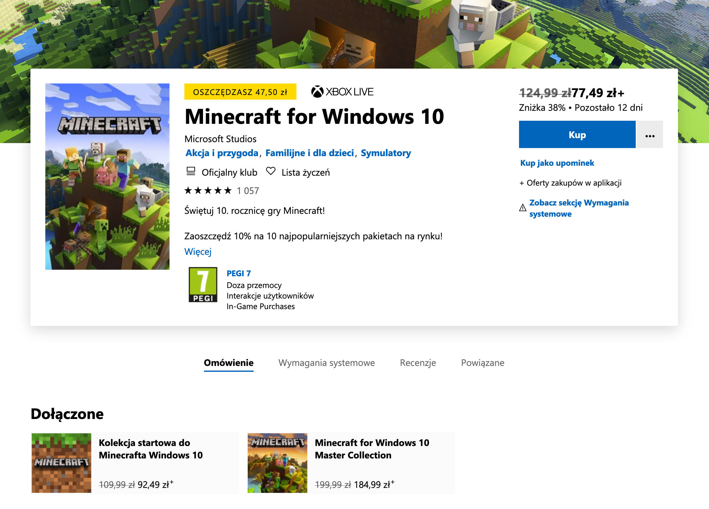 Minecraft promocja gry PC z Windows 10 PlayStation 4 Xbox One Nintendo Switch obniżka ceny