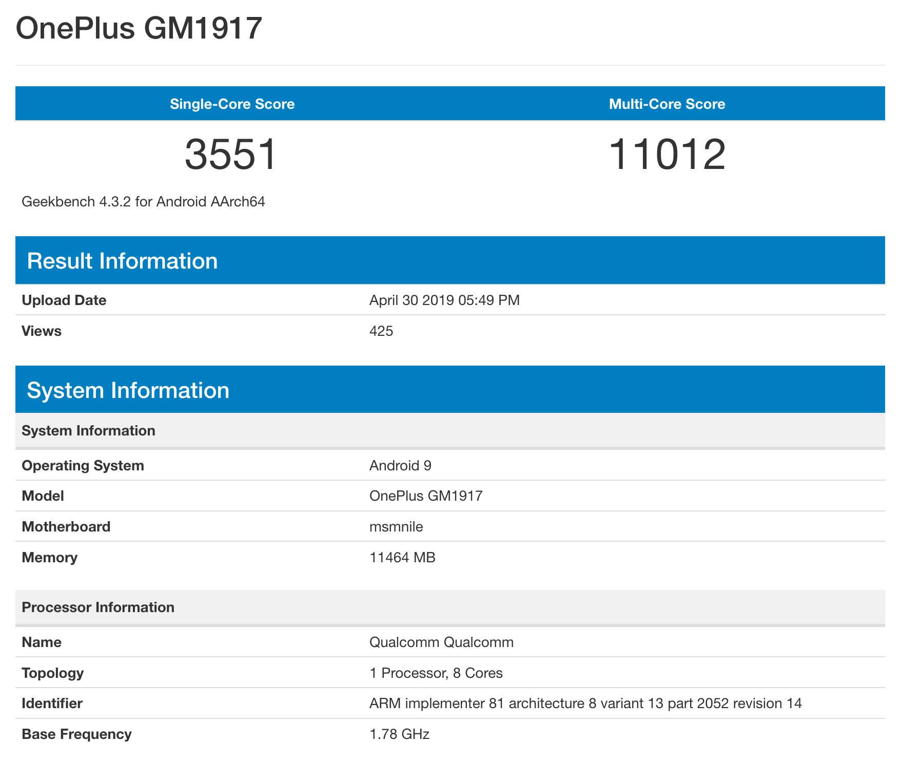 OnePlus 7 Pro Geekbench Snapdragon 855 specyfikacja techniczna przecieki plotki kiedy premiera