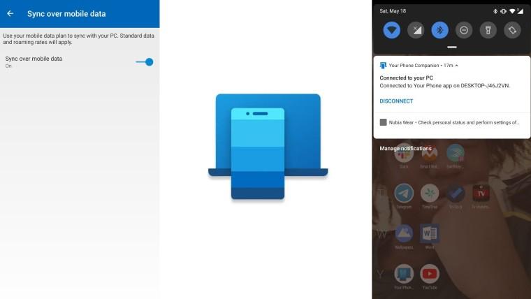 Pomocnik aplikacji twój telefon Android z Windows 10 nowa ikonka synchronizacja