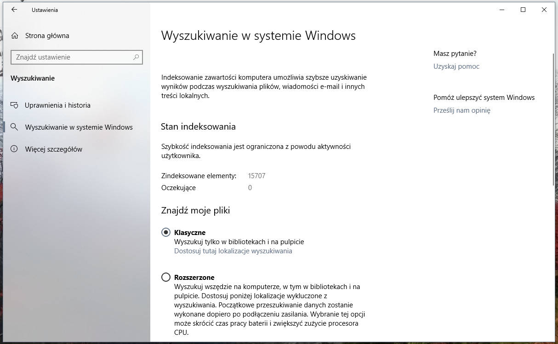 Windows 10 1903 majowa aktualizacja May 2019 Update kiedy premiera rozszerzone wyszukiwanie w Windows
