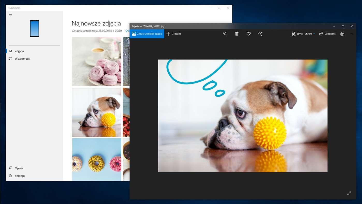 Twój telefon Windows 10 1903 aplikacja nowości Your Phone Microsoft May 2019 Update
