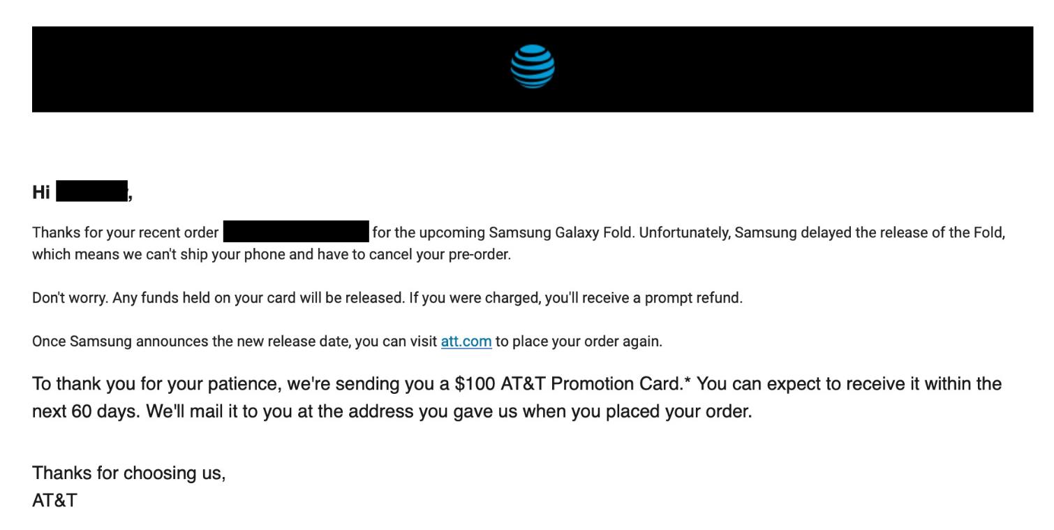 Samsung Galaxy Fold anulowane zamówienia