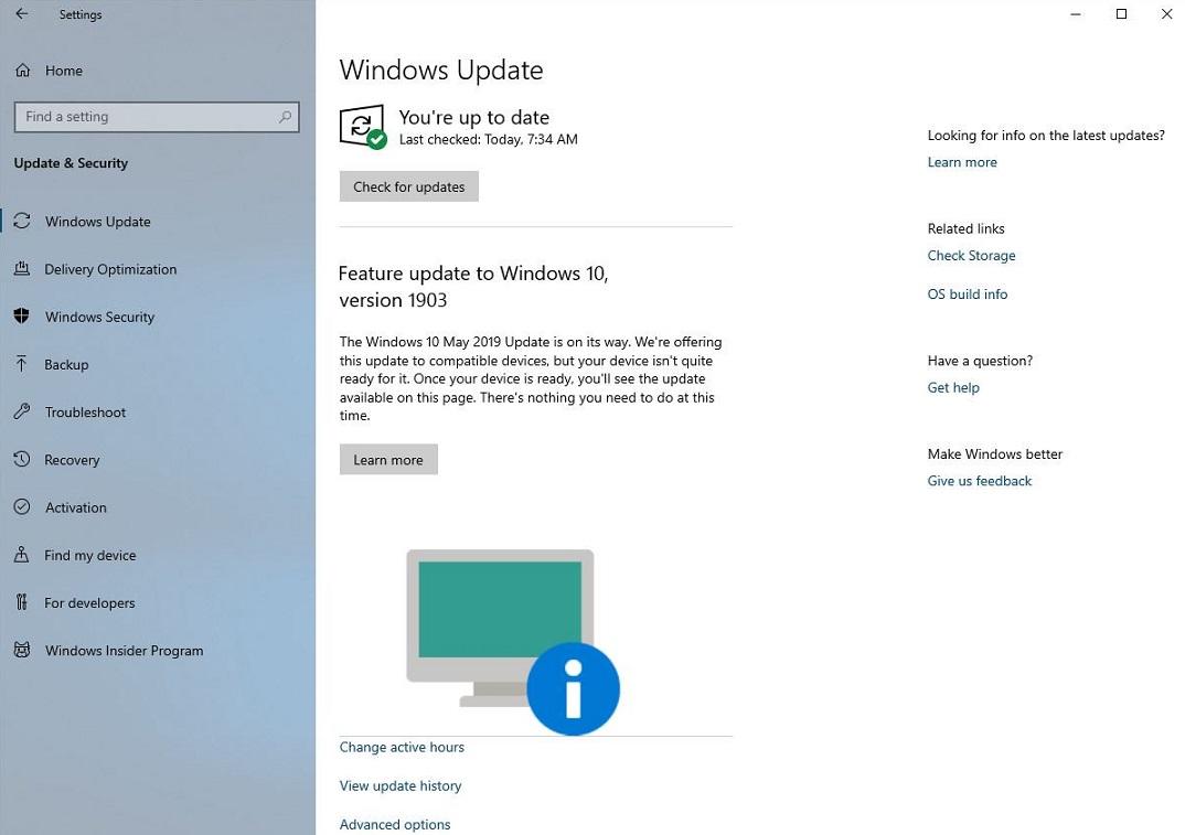 Windows 10 1903 komunikaty kompatybilność Windows Update aktualizacja Microsoft zgodność
