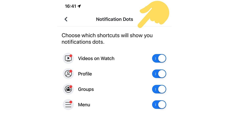 Facebook kropka powiadomień iOS Android jak wyłączyć powiadomienia