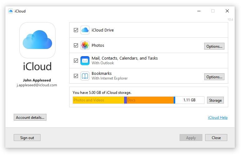 Apple iCloud dla Windows 10 Microsoft Store aplikacja