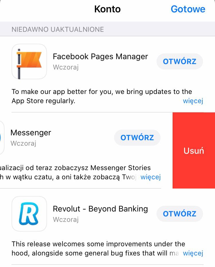 iOS 13 beta 1 kasowanie aplikacji w App Store Apple iPhone