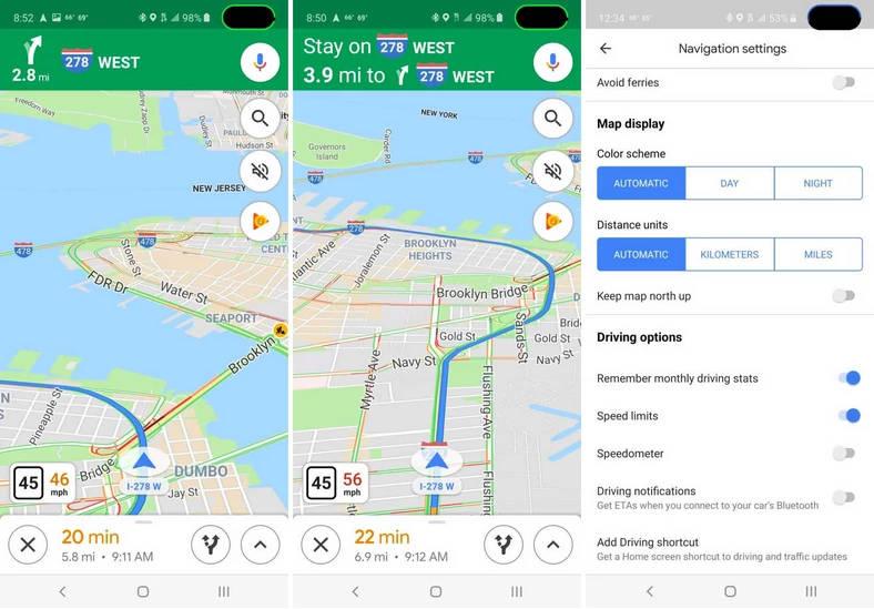 Mapy Google prędkościomierz p®edkość jazdy nawigacja