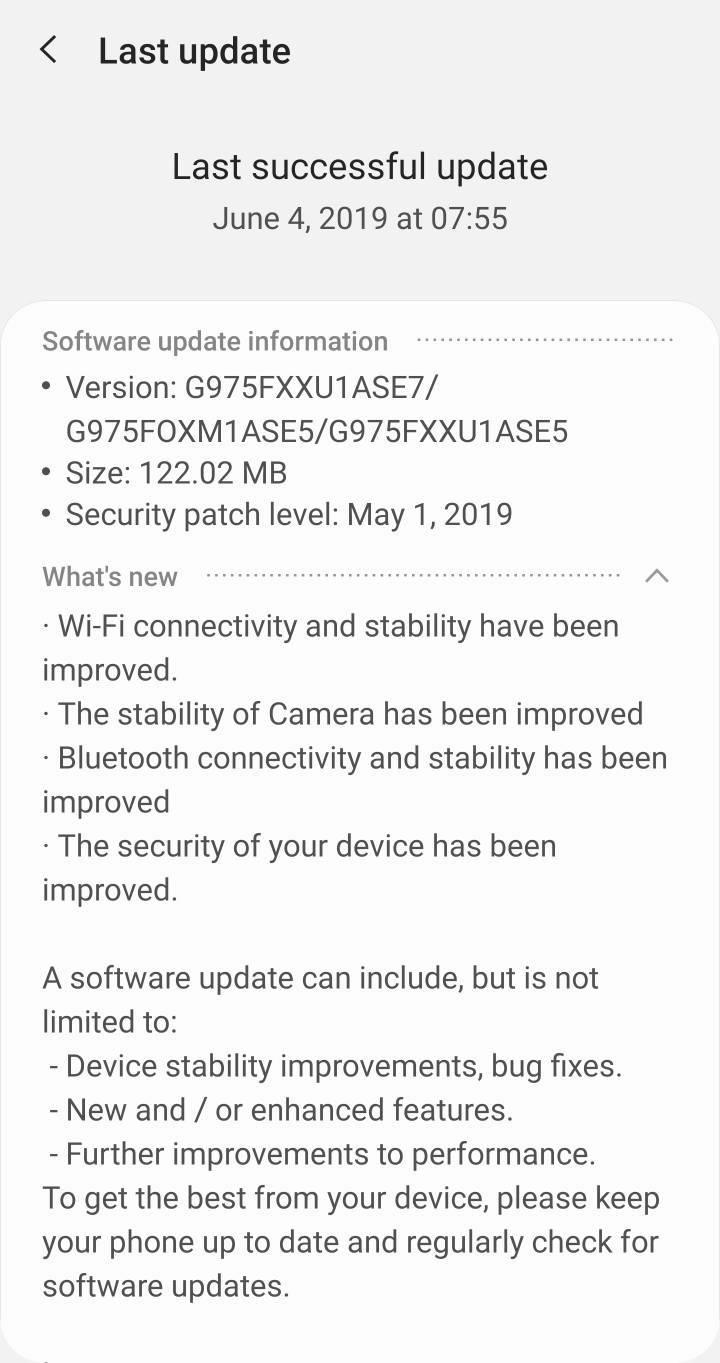 Samsung Galaxy S10 nowa aktualizacja firmware ASE7 majowe poprawki bezpieczeństwa