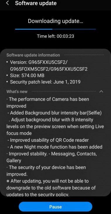 Samsung Galaxy S9 aktualizacja CSF2 tryb nocny czerwcowe poprawki bezpieczeństwa Android