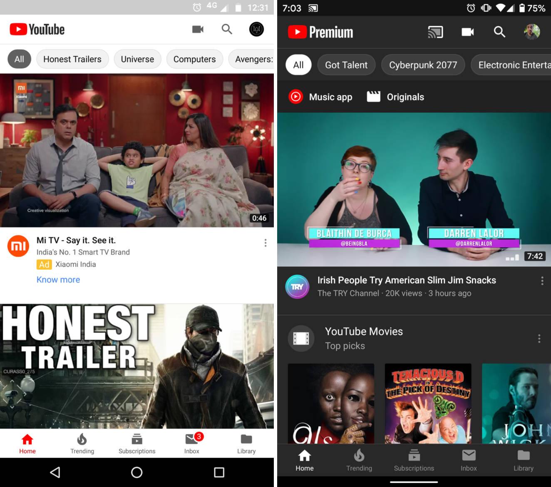 YouTube nowy ekran domowy bardziej spersonalizowany filtry