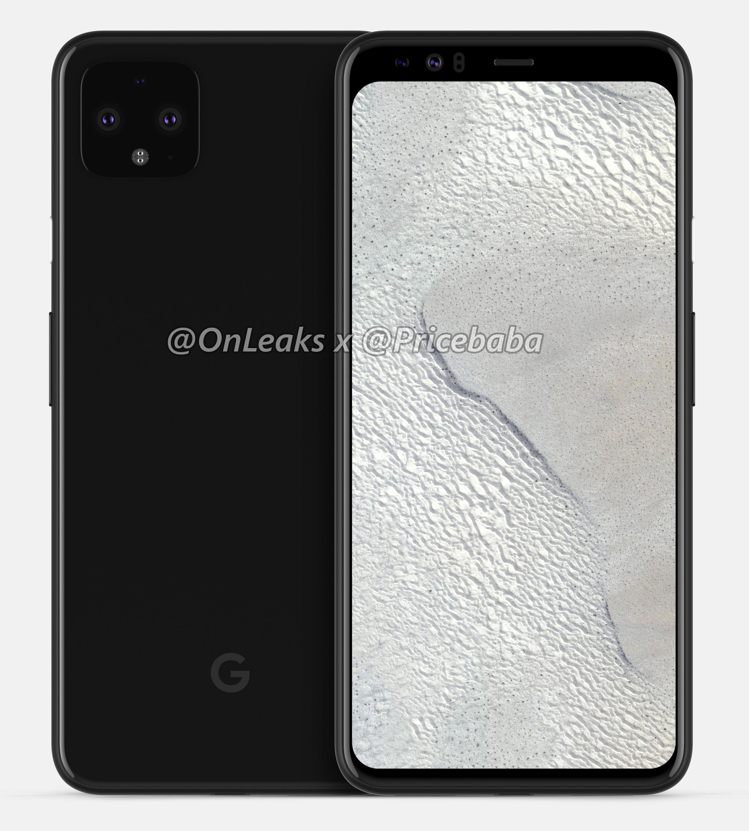 Google Pixel 4 XL rendery Onleaks smartfony Android plotki przecieki wycieki specyfikacja techniczna ekran Smooth Display Android 10 dane techniczne