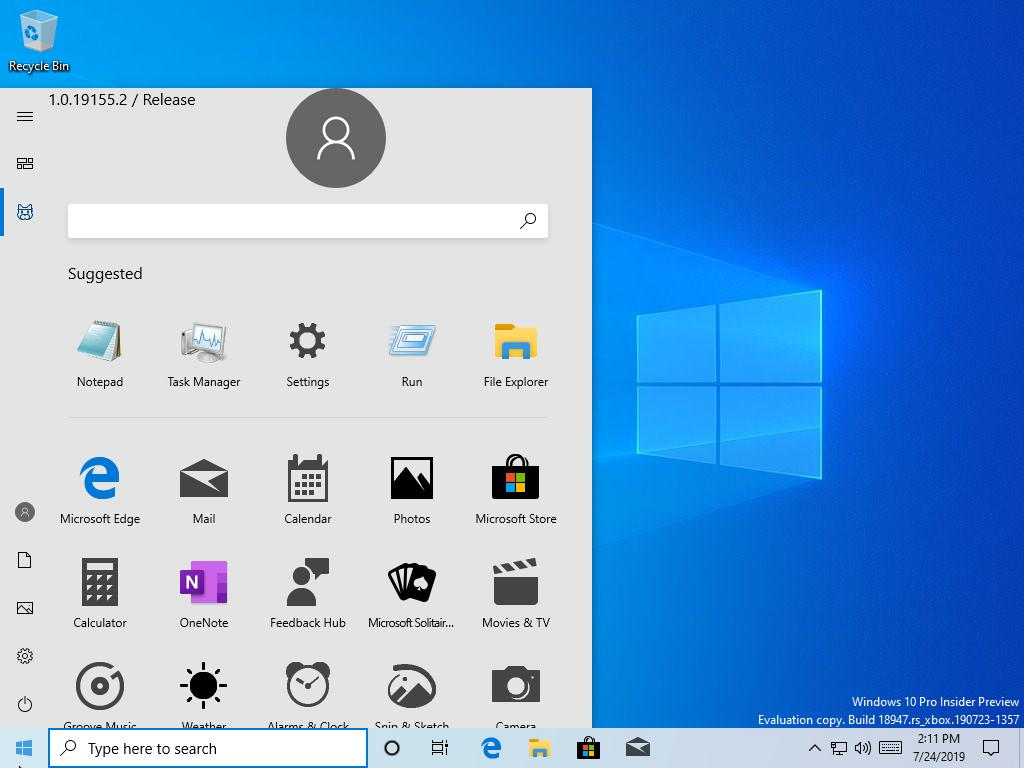 Windows 10 20H1 nowe menu Start wyciek Microsoft