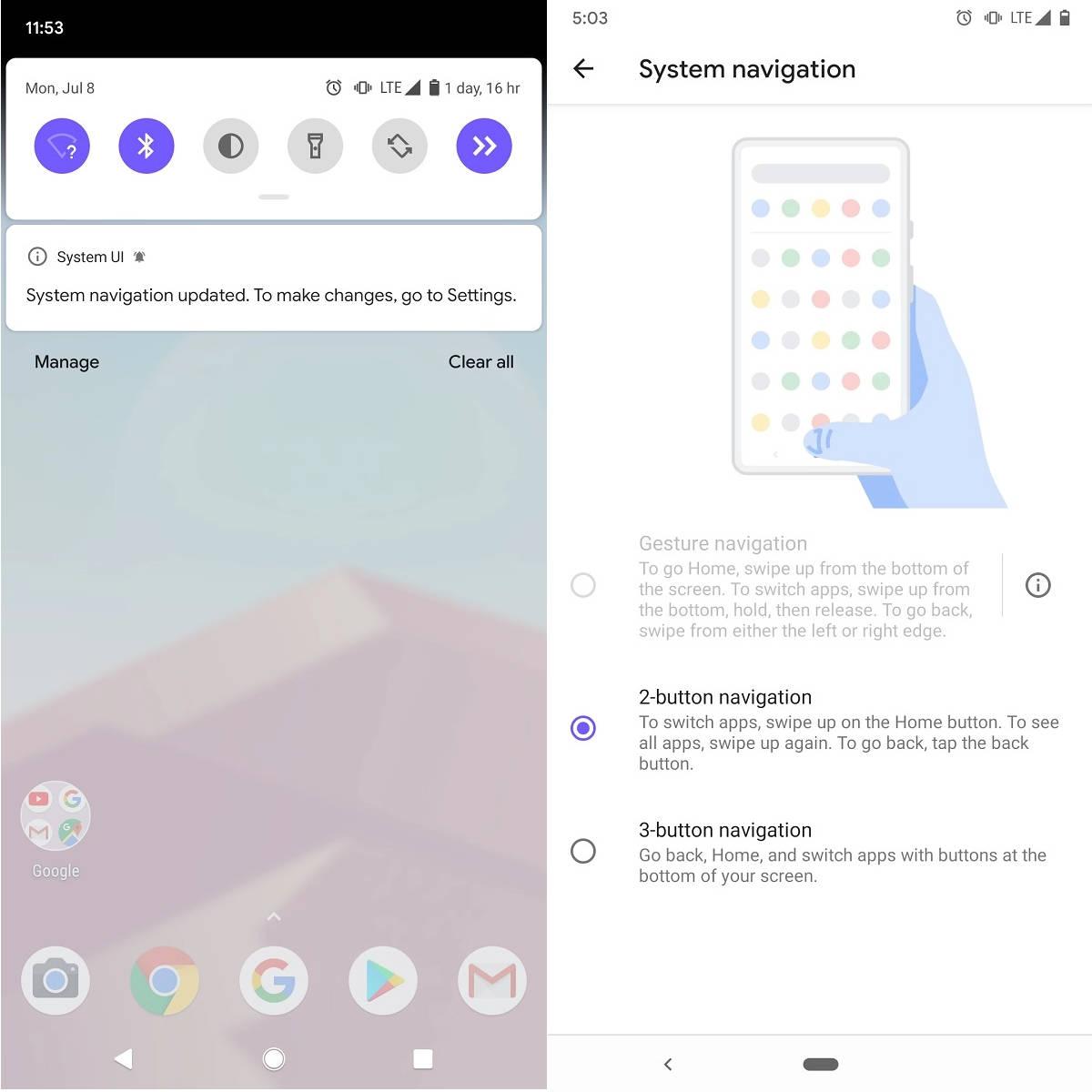 Google Android Q Beta 5 gesty nawigacji launcher aplikacji