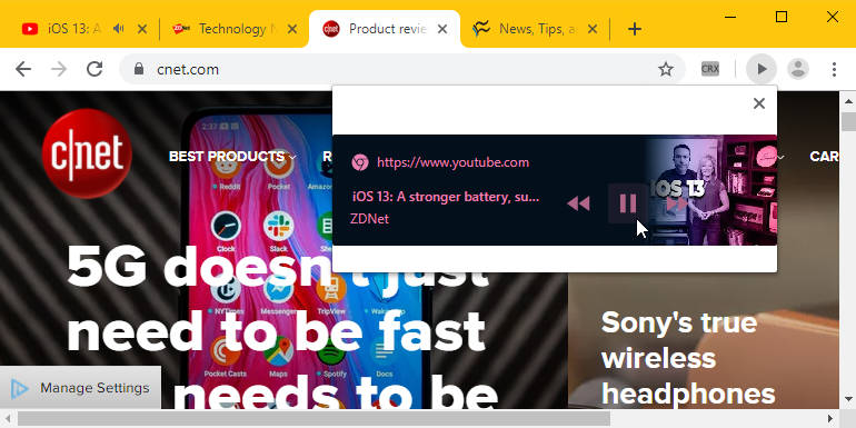 Google chrome przycisk play pauza multimedia