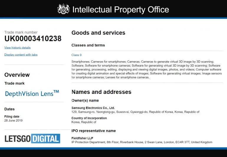 Samsung Galaxy Note 10 DepthVision Lens patent plotki przecieki wycieki