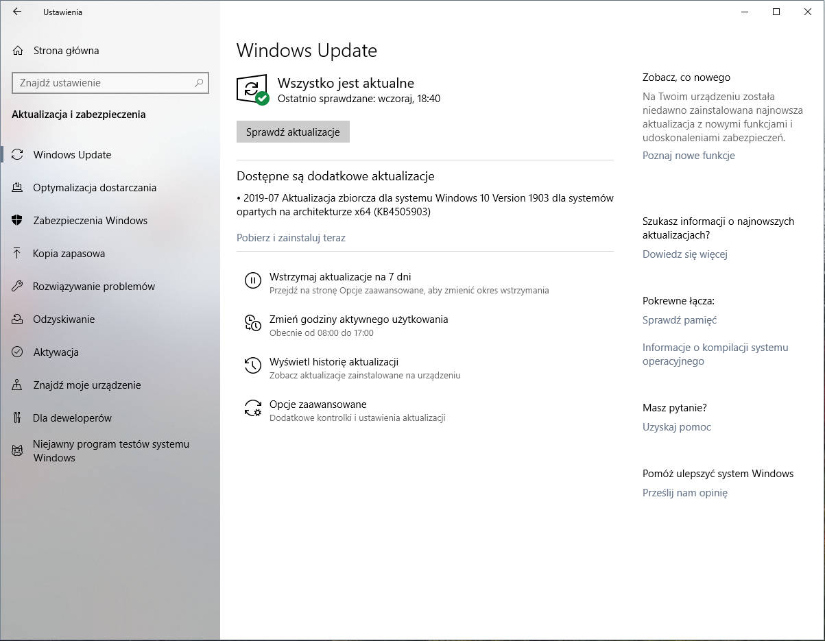 Windows 10 1903 May 2019 Update zbiorcza aktualizacja Windows Update