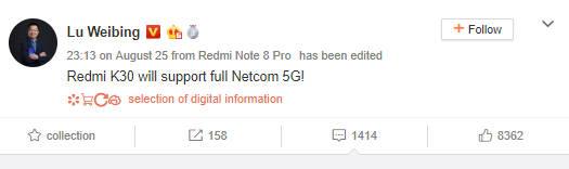 Xiaomi Redmi K30 Pro kiedy premiera plotki przecieki wycieki specyfikacja techniczna 5G Lu Weibing