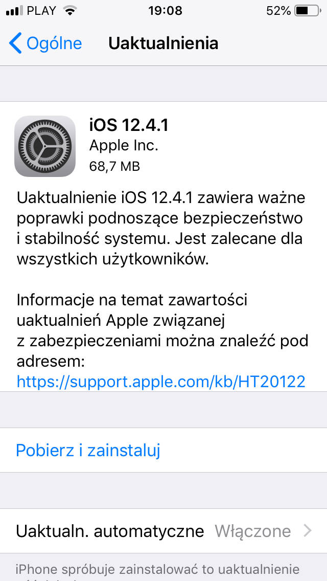 iOS 12.4.1 aktualizacja Apple iPhone co nowego czy warto zainstalować opinie