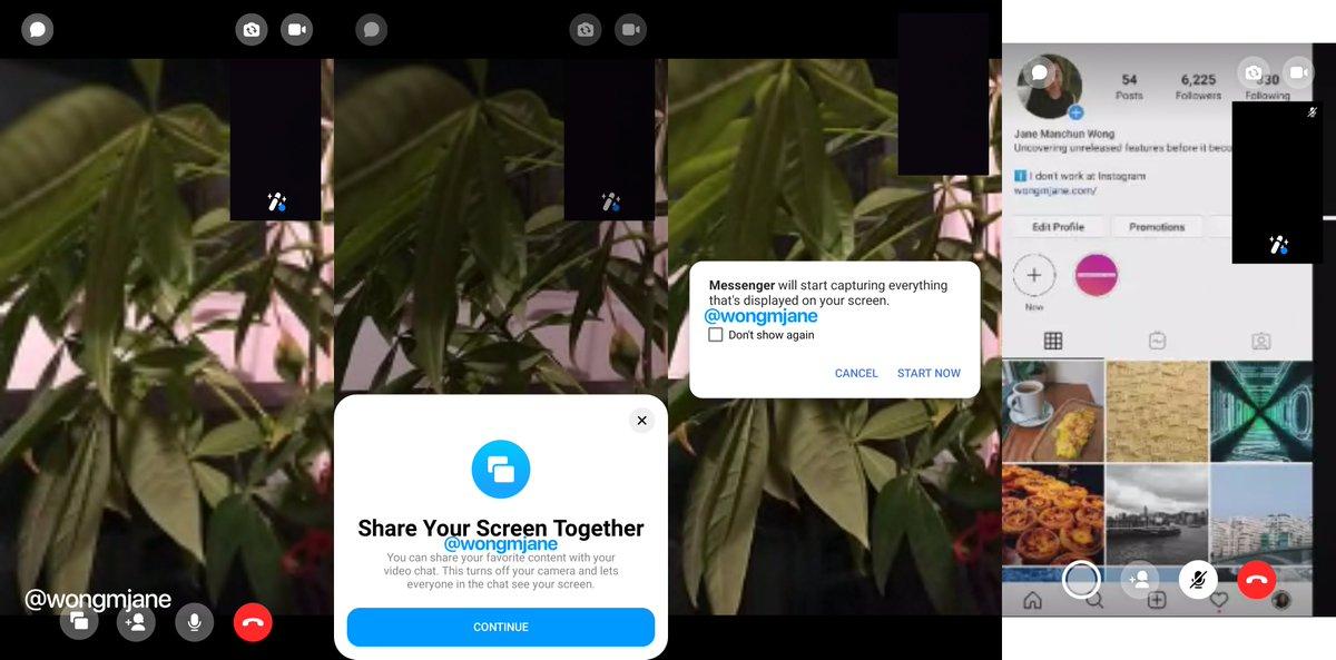 Facebook Messenger współdzielenie ekranu