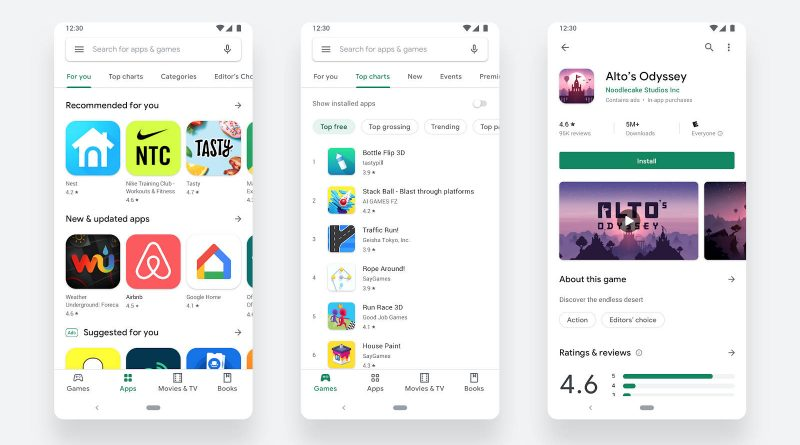 Nowy Sklep Play Google Android aplikacje Material Theme