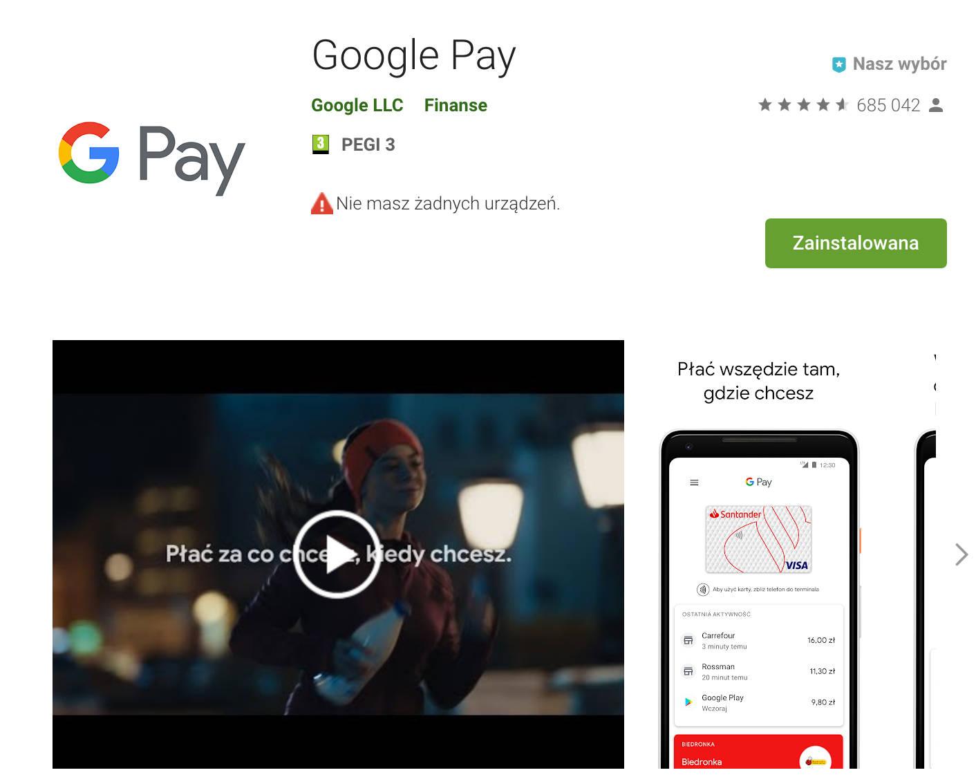Sklep Play Google Play aplikacje Android aut-odtwarzanie wideo filmy