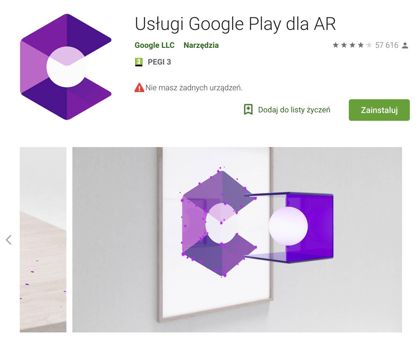 Usługi Google Play dla AR ARcore rzeczywistość rozszerzona aplikacje nowa nazwa