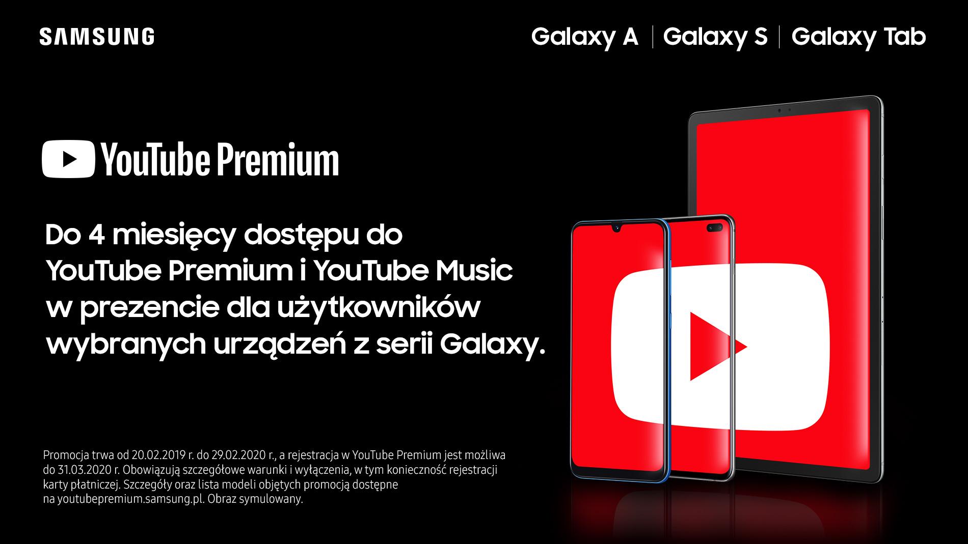 YouTube Premium na smartfony tablety Samsung Galaxy za darmo