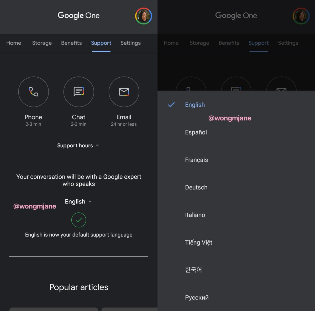 Google one dark mode ciemy motyw