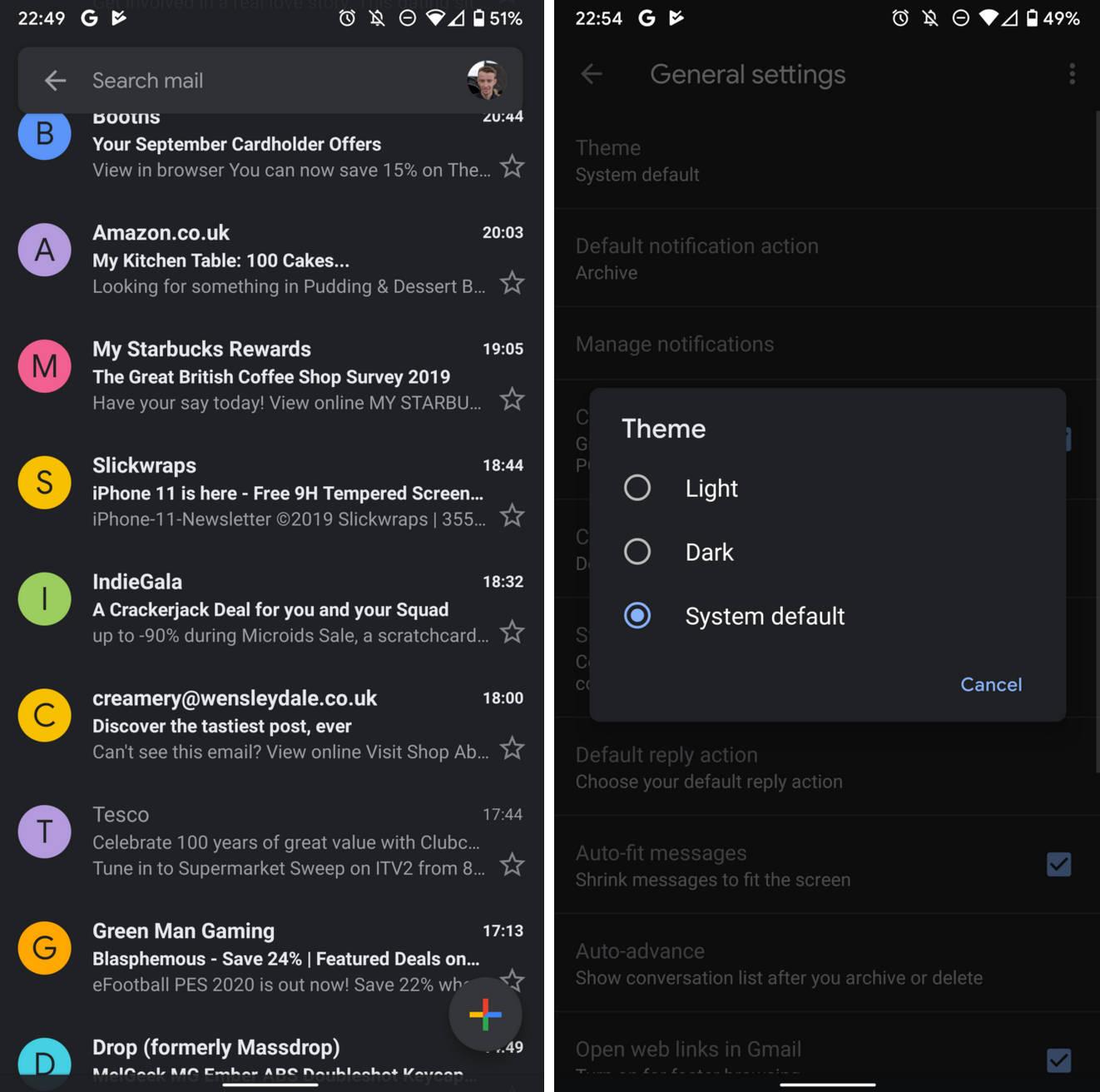Gmail dark mode ciemny motyw jak włączyć mapy Google Maps