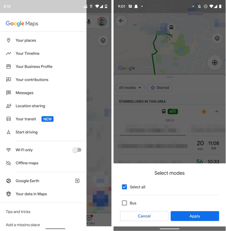 Mapy Google Maps 10.24 beta twoje przyjazdy nowa sekcja przebudowane ustawienia