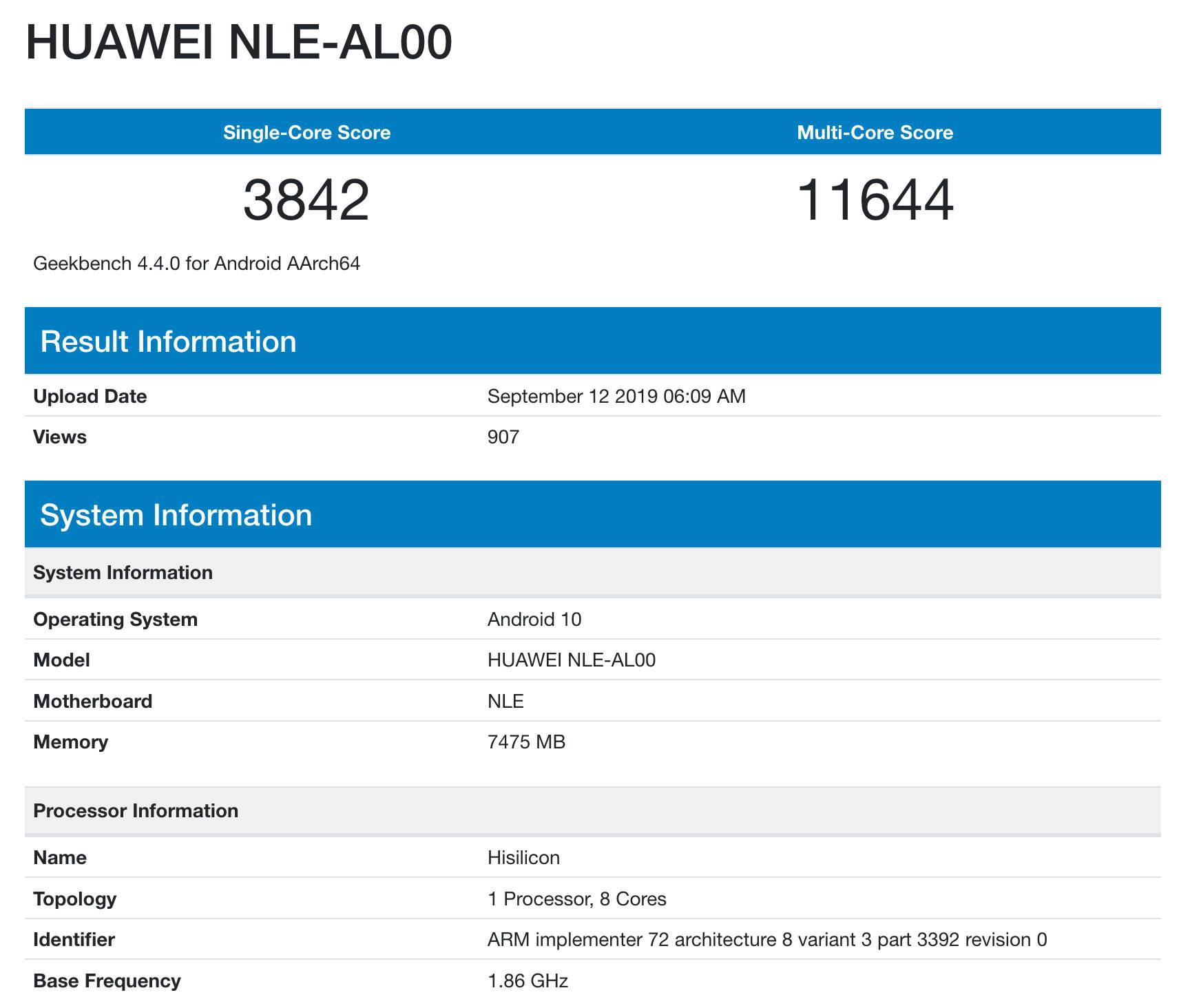 Kirin 990 z Huawei Mate 30 Pro Geekbench benchmarki vs Apple A13 z iPhone 11 plotki przecieki wycieki