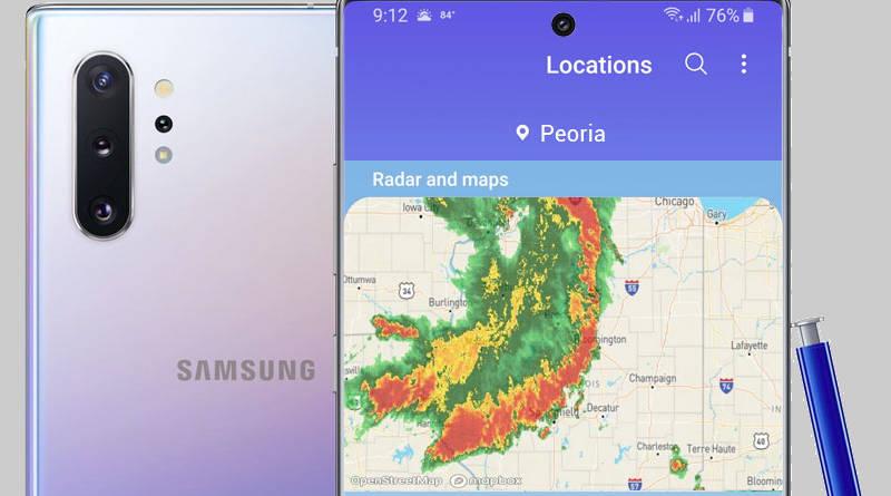 Samsung Galaxy Note 10 widżet pogody One UI 1.5 pogada mapy radowe