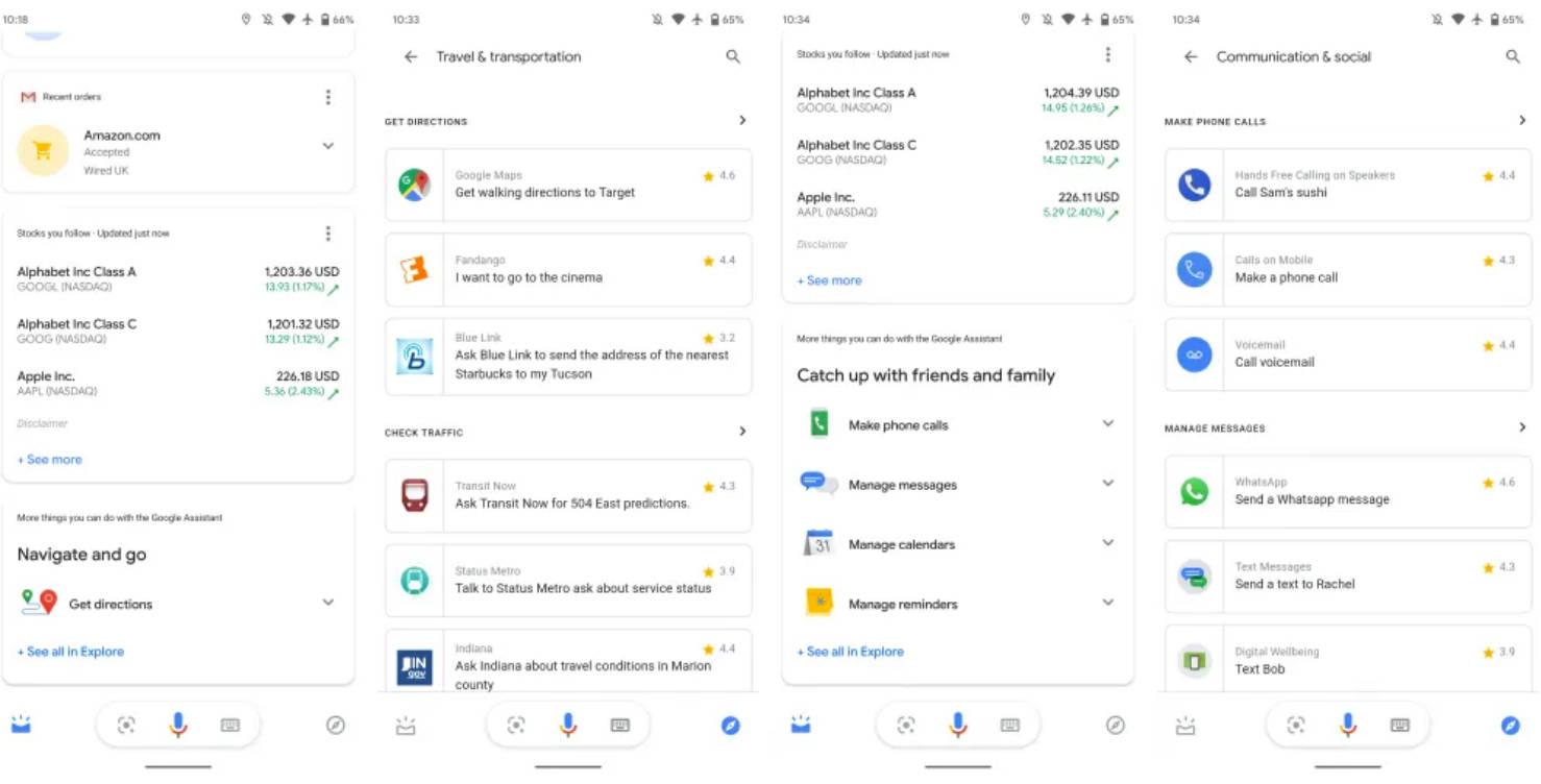 Asystent Google nowa karta Eksploruj dostępne akcje