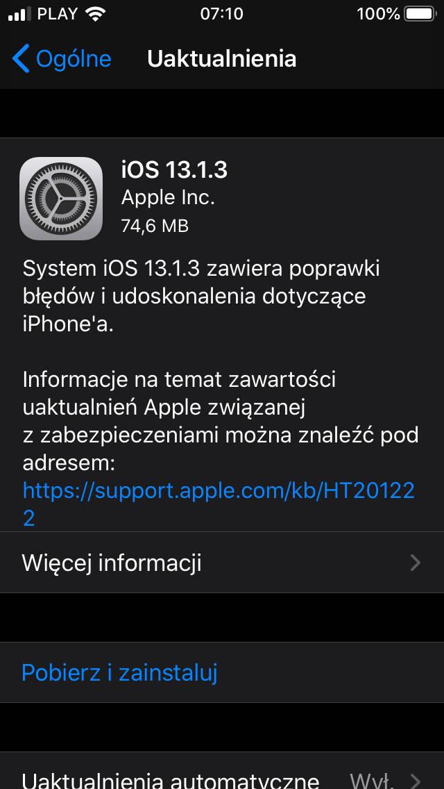 iOS 13.1.3 aktualizacja co nowego Apple iPhone opinie czy warto instalować