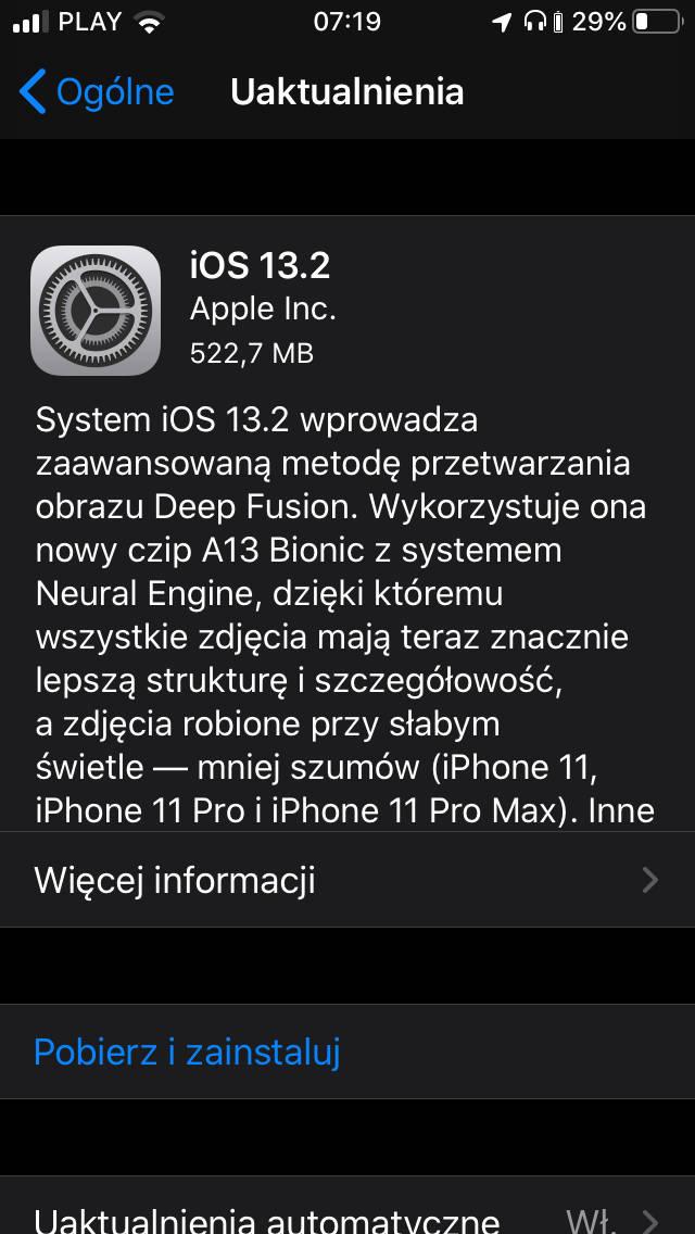 Aktualizacja iOS 13.2 co nowego dla Apple iPhone nowości nowe emoji Deep Fusion AirPods Pro