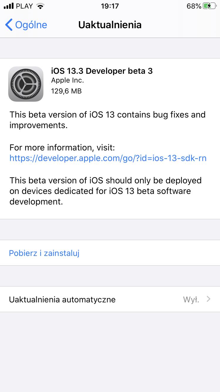iOS 13.3 Beta 3 co nowego kiedy aktualizacja Apple iPhone